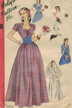 Hollywood 1663 FF Vintage Sewing Pattern Misses Evening Dress, Bridal Gown Size 16 Bust 34 Hollywood Fashion, Vintage Hollywood, Hollywood Style, Style Hollywoodien, Sewing Shorts, Formal Prom, Vintage Sewing Patterns, Vintage Fashion, Vintage Style