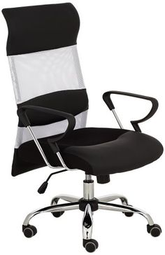 Make an executive decision to update your office with this sleek black and white office chair design. Mesh back. Style # at Lamps Plus. High Back Office Chair, Mesh Office Chair, Home Office Chairs, Black And White Office, White Fabrics, Black Mesh, Chair Design, Modern, Things To Sell