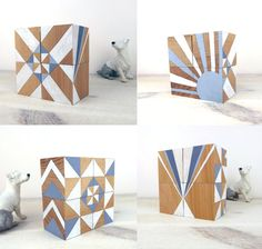 Geometric Art Ornaments Blocks x 4 Grey and White. £35.50, via Etsy.