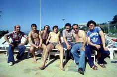 Henri Michel, Michel Platini, Bernard Père, Thierry Roland et Olivier Rouyer au Brésil en 1977