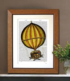 Yellow and Red Hot Air Balloon Print Upcycled by DottyDictionary