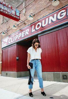 High-rise vintage jeans.