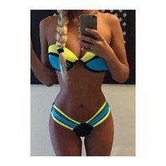 Rotita Color Block Strapless Padded Bikini Set (22 CAD) ❤ liked on Polyvore featuring swimwear, bikinis, color block, padded swimwear, colorblock bikinis, bikini two piece, print bikini and strapless swimwear