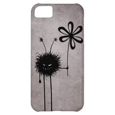 Evil Flower Bug Vintage iPhone 5C Covers $42.95 - Customizable funny #iPhone 5C #case with the Evil Flower Bug in its vintage reincarnation -  grinning cartoon creature with sharp teeth holding a flower. It's evil and kind of cute. It loves flowers... loves eating them, in fact. This evil iPhone case will make a great gift for someone who loves dark, quirky illustrations, #gothic stuff. Or just funny creatures. #iphonecase #iphone5c