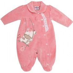 Macacão de Plush para Bebê Menina Passarinho - Travessus