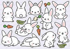 Easy Drawings Premium Vector Clipart - Kawaii Bunny - Cute Bunny Clipart Set - High Quality Vectors - Instant Down - Griffonnages Kawaii, Kawaii Bunny, Cute Bunny, Easy Bunny Drawing, Rabbit Drawing, Kawaii Drawings, Cartoon Drawings, Easy Drawings, Kawaii Doodles