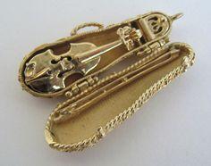 14k Gold Violin Charm Movable 3D Case Bow Vintage Necklace Pendant Amber Quartz
