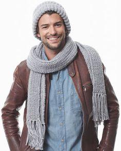 Men s Shaker Knit Hat  amp  Scarf Chunky Crochet Hat ca5b59f03ab