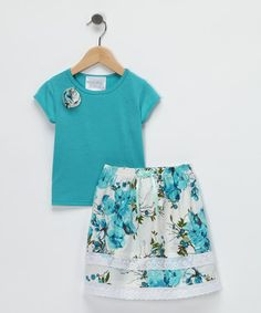 Aqua Ruffle Tee & Skirt - Toddler & Girls