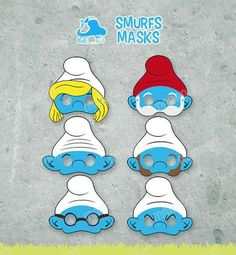 This+smurf+set+of+masks+are+perfect+for+kids+parties. grandpa+smurf smurfette clumsy gutsy grouchy brainy T. 4th Birthday, Birthday Party Themes, Photobooth Props Printable, Smurfette, Party Props, Cricut Creations, Childrens Party, Baby Boy Shower, Party Time