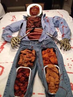 Great pot luck food table idea for Halloween!