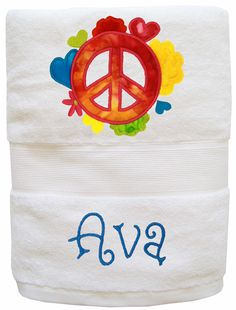 Our one-of-a-kind towels have colorful appliques and your child's name embroidered on soft, 100% cotton terry.