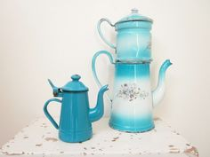 LITTLE Vintage enamel coffee pot Tea set - Enamelware Blue dolls - Girl - Antique 1940-1950