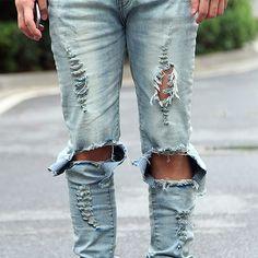 Mens Ripped Stretch Jeans Streetwear Casual Black Blue Denim Pants Biker Hip Hop Jeans with Sexy Hole Size 42 Ripped Biker Jeans, Black Jeans Men, Ripped Jeans Men, Jeans Denim, Distressed Skinny Jeans, Black Skinnies, High Jeans, High Waist Jeans, Jeans Pants