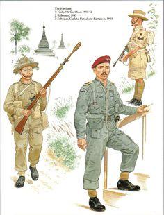 BRITISH ARMY - Gurka - 1. Naik, 9° Gurkhas, 1941/42 - 2. Rifleman 1945 - 3: Subedar, Gurkha Parachute Battalion, 1945