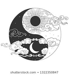 Decorative graphic design element in oriental style. V… Decorative graphic design element in oriental style. Arte Yin Yang, Ying Y Yang, Yin Yang Art, Tattoo Drawings, Body Art Tattoos, Art Drawings, Yin Yang Tattoos, Oriental Fashion, Oriental Style
