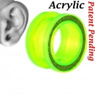 Wholesale Body Jewelry Tunnel Sand Paper Acrylic Transparent Green Color PA14-TG