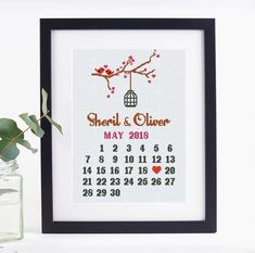 Counting the days to the most exciting event? The stylish modern cross stitch pattern for a wedding sampler is a good idea to keep your memories vivid.  #wedding #savethedate #weddinggifts #anniversarygifts #crossstitch #pattern #download #easydiy #easydiyhome #embroiderydesigns #contemporarydesign #SmartCrossStitch