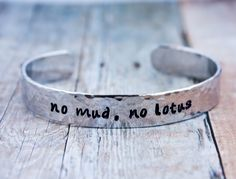 #sapphiresoul no mud, no lotus, Thich Nhat Hanh quote, yoga bracelet, lotus moon bracelet, inspirational custom personalized gift, ready to ship CA012 by ZennedOut on Etsy https://www.etsy.com/listing/182550269/no-mud-no-lotus-thich-nhat-hanh-quote