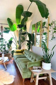 Living Room Plants, Home Living Room, Living Room Decor, Room With Plants, Urban Deco, Interior Design Living Room, Interior Decorating, Deco Studio, Style Deco