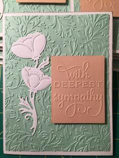"Sympathy card.  Embossing - Anna Griffin folders, flower die - Wild Rose Studio ""dancing poppies"""