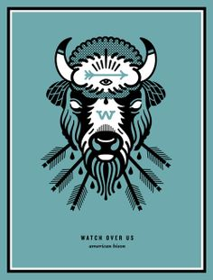 """""""West Was Won"""" show. Print, Buffalo, Arrows, Blood, American, Native, Indian, Illustration, Bison"""