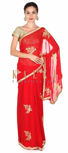 Buy this Red saree adorn in kardana embroidered butti only on Kalki
