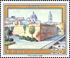 Sello: Tourist- Alghero (Italia) (Tourist Attractions) Mi:IT 1654 Alghero, Cat Clock, Stamp Collecting, Postage Stamps, Vintage World Maps, Poster, Paper Crafts, Gallery, Pictures
