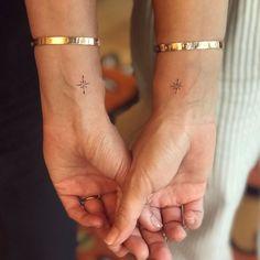 Delicate Tattoo, Dainty Tattoos, Small Tattoos, Friend Tattoos Small, Couple Tattoos, Bff Tattoos, Hand Tattoos, Tattoos For Sisters, Tattos