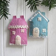 felt cottage ornaments-customize to look like people's house.