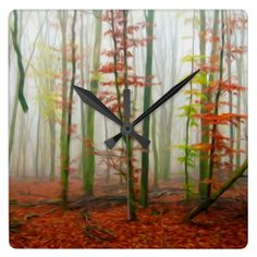 Autumn forest wall clocks