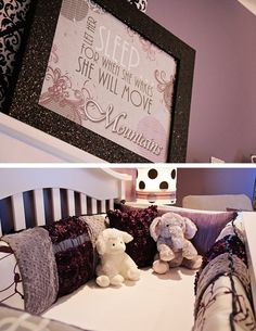 Purple and gray baby room.  Bedding custom by ABK Designs.