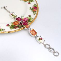 Old Country Roses Pink Yellow Red Roses Broken by vbellejewelry, $228.00