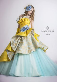 Yellow and blue frilly dress Party Wear Dresses, Ball Dresses, Ball Gowns, Evening Dresses, Girls Dresses, Indian Gowns Dresses, Fairytale Dress, Fantasy Dress, Costume