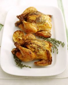 Cornish Hens with Lemon and Herbs - Martha Stewart Recipes. I serve with roasted fingerling potatoes and carrots.
