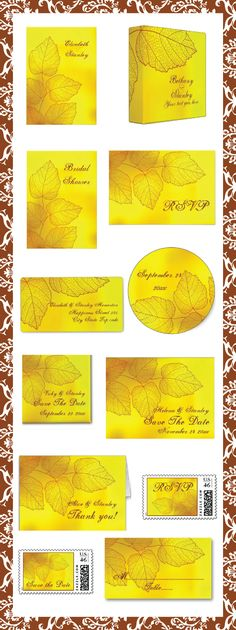 Skeleton leaves yellow, brown custom fall wedding invitations and matching ensembles. #weddings, #weddinginvitations, #invites, #leaves, #fallwedding, #yellow  See more designs http://www.zazzle.com/weddings_?rf=238228936251904937=zBookmarklet