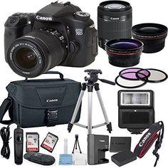 Canon EOS 70D Digital SLR Camera with EF-S 18-55mm IS STM Lens Bundle includes Camera, Lenses, Filters, Bag, Memory Cards, Tripod, Flash, Remote Shutter and More - International Version * undefined #DSLRCameraBundles