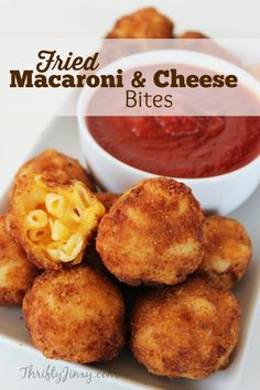 This Fried Macaroni and Cheese Bites Recipe is perfect as a party appetizer or a game day snack.   via @ThriftyJinxy