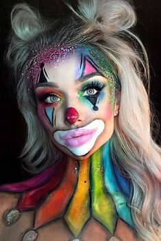 clown harley quinn joker rainbow halloween makeup inspo looks ideas inspiration . clown harley quinn joker rainbow halloween makeup inspo looks ideas inspiration idea Cool Halloween Makeup, Halloween Makeup Looks, Easy Halloween, Easy Clown Makeup, Women Halloween, Girl Clown Makeup, Halloween Photos, Clown Makeup Tutorial, Halloween College