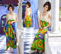 Blue and Green Jute Silk and Pure Printed cotton Long Kurti with 40 size.(Catalog - 5417)