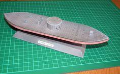 Okręt pancerny z wojny secesyjnej USS Monitor model kartonowy 1:144 http://mojeminiatury.waw.pl/uss-monitor-1144/