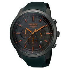 Pulsar PT3207 Gent's On The Go Black Rubber Band Chrono Watch, #Pulsar, #PulsarPT3207