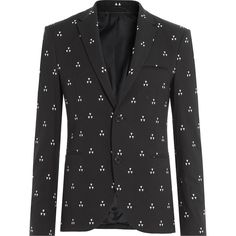 Neil Barrett Printed Cotton Blend Jacket ($1,395) ❤ liked on Polyvore featuring men's fashion, men's clothing, men's outerwear, men's jackets und blue