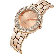 CIVO Women's Rose Golden Stainless Steel Band Wrist Watch Lady Fashion Business Casual Dress Bracelet