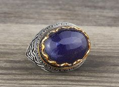 925 K Sterling Silver Man Ring  Blue Lapis Gemstone 10,25 US Size #istanbuljewelry #Cluster