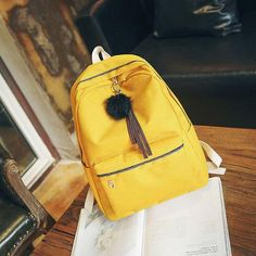 DCIMOR 2018 Women Girls Backpack Canvas Backpacks School Bags For Teenagers Girl Mochila Feminina Students Hair ball Book Bags Outfit Accessories From Touchy Style. Cool Backpacks For Girls, Backpacks For College Girl, Trendy Backpacks, Boys Backpacks, School Backpacks, Canvas Backpacks, Girl Clothes Style, Best Clothing Brands, Clothing Stores
