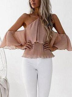 Pink Cold Shoulder Halter Open Back Layered Chiffon Blouse