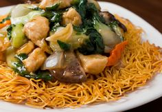 Hong Kong Crispy Noodle with Chicken at M.Y. China restaurant in San Francisco  #CXnoodles