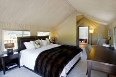 Luxury campsite flies guests in via helicopter Canvas suites complete with full en-suites and enough hot water for endless showers Luxury Tents, Luxury Camping, Long White Cloud, Lake Wanaka, Campsite, Lodges, New Zealand, Places, Showers