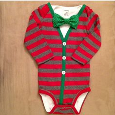 Red/Grey Striped CHRISTMAS Baby Boy Cardigan by LinzyDawnDesigns, $27.00